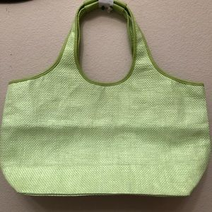 Neiman Marcus Green Straw Material Tote Bag